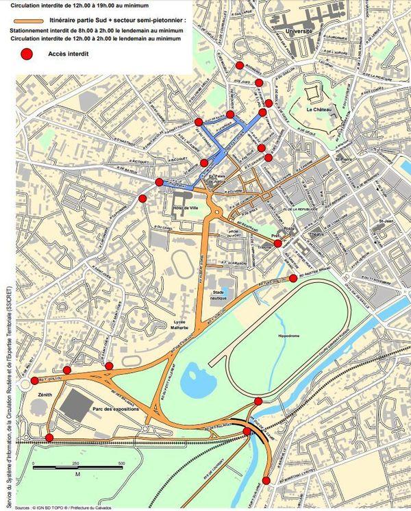 Carnaval étudiant de Caen (4 avril 2019) - Carte présentant les rues interdites à la circulation et au stationnement