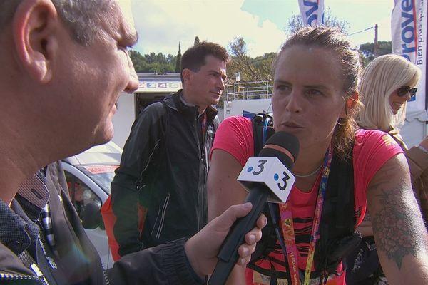 Laure Manaudou à l'arrivée du 40ème Marseille-Cassis.