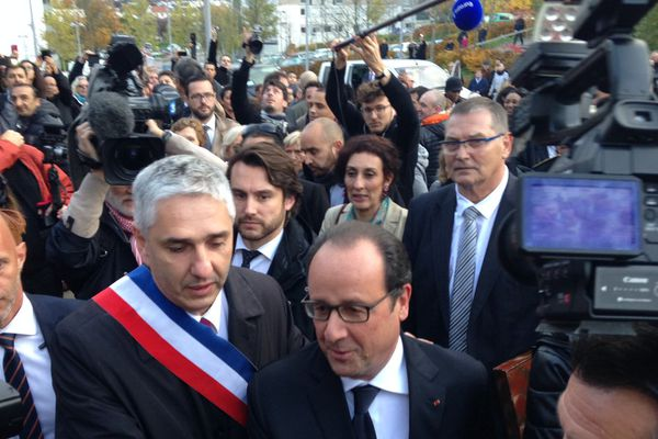 François Hollande avec Stéphane Hablot, maire de Vandoeuvre-lès-Nancy (54).