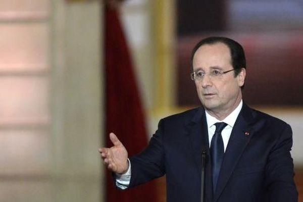 François Hollande lors de sa conférence de presse, le 14 janvier 2014, à l'Elysée.