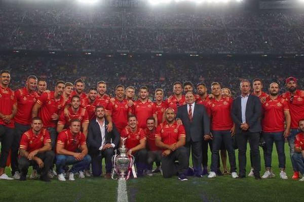 Vainqueurs de la Cup 2018, les Dragons Catalans étaient les invités du derby catalan de la Liga entre le FC Barcelone et le FC Girona.