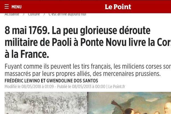 """Quand le Point.fr revisite le 8 mai 1769, dans un article """"raciste et falsificateur"""" selon le député nationaliste Jean-Félix Acquaviva."""