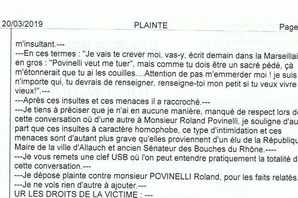 08/04/2019 - Extrait du procès verbal de la plainte visant l'élu Roland Povinelli pour avoir menacer de mort un journaliste à Marseille.