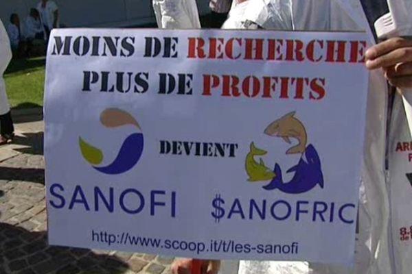 L'un des slogans de la manifestation des salariés de Sanofi à Montpellier