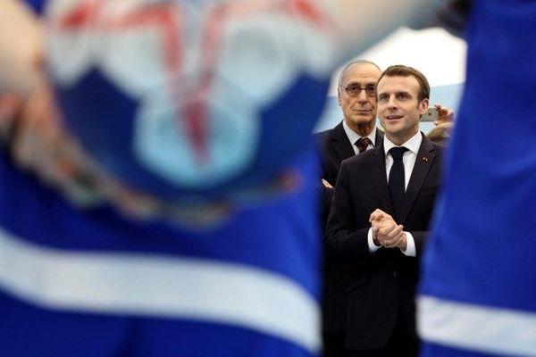 Emmanuel Macron lors de l'inauguration de la Maison du Handball à Créteil (Val-de-Marne), le 9 janvier 2019.