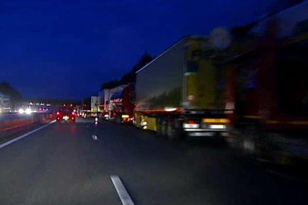 Camions retenus entre Le Muy et Fréjus