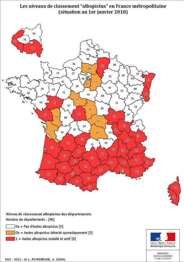 Carte de l'implantation du moustique tigre en France métropolitaine (2018)