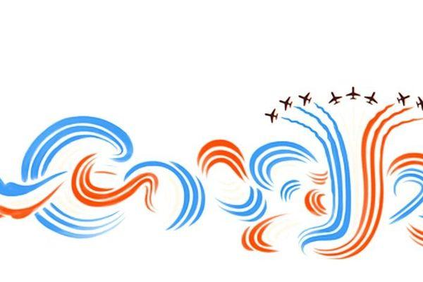 En bleu blanc et rouge Google pour ce 14 juillet s'offre un tour en Alpha-jet