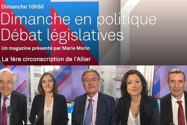 Les invités de Dimanche en Politique : de gauche à droite Pierre-André Périssol (LR), Magali Alexandre (PS), Jean Mallot (DVG), Pauline Rivière (LREM), Jean-Paul Dufrègne (PCF).