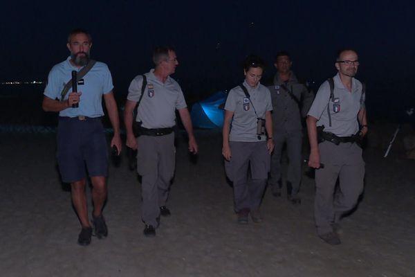 Des gardes du littoral, la brigade maritime, ou encore l'office français de la biodiversité, en patrouille au Grau-du-Roi, dans le Gard - 5 août 2020