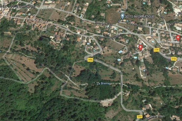 Carte de Branoux-les-Taillades (Gard)