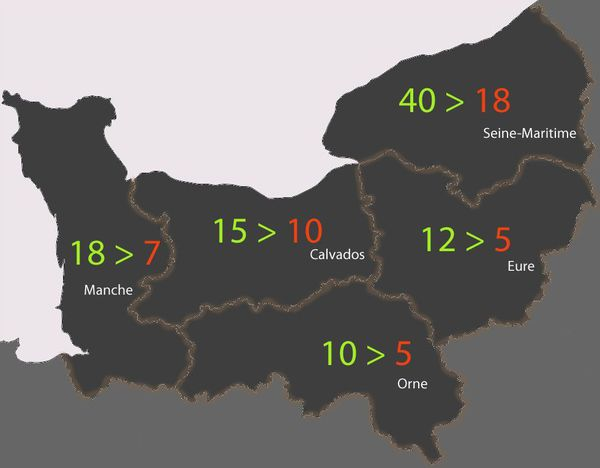 Estimation de la réduction du nombre de centres des impôts et/ou trésoreries en Normandie entre 2019 (en vert) et 2022 (en rouge)