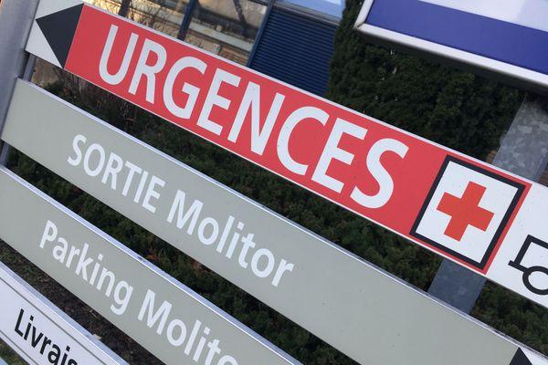 Panneau des urgences au CHRU de Nancy.
