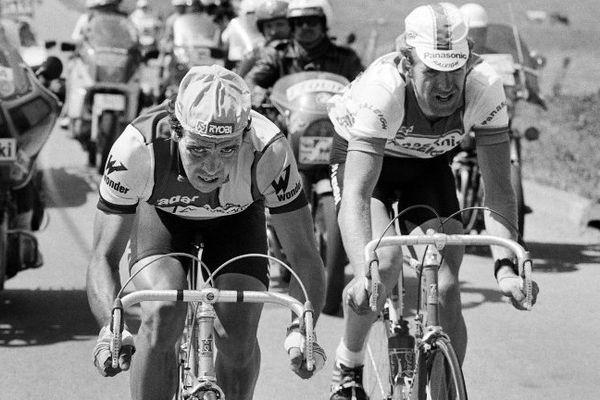 Dominique Arnaud devant l'Allemand Lammerts lors du Tour de France en 1985 à Epinal
