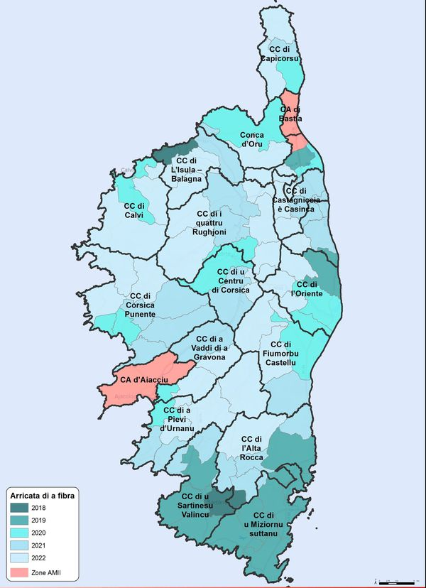 Carte déploiement de la fibre en Corse d'ici 2023.
