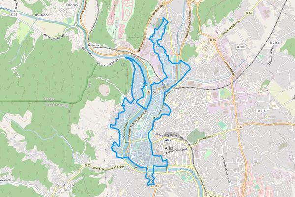 Alès (Gard) : la zone bénéficiant des fonds de l'ANRU.