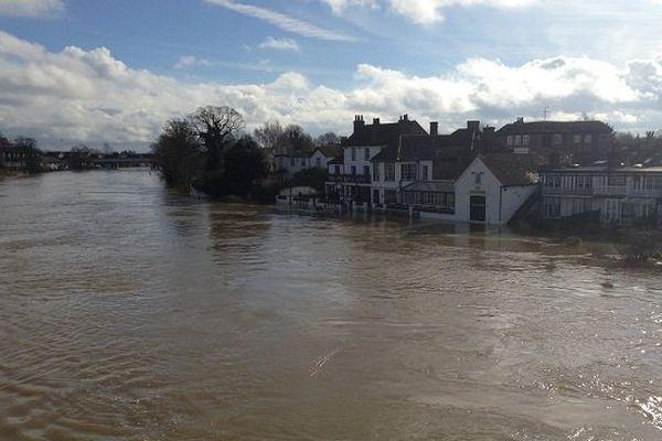 Le niveau de la Tamise à Staines-upon-Thames le 10 février 2014.