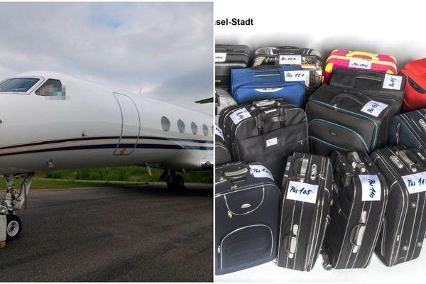 L'avion des trafiquants et les valises saisies.