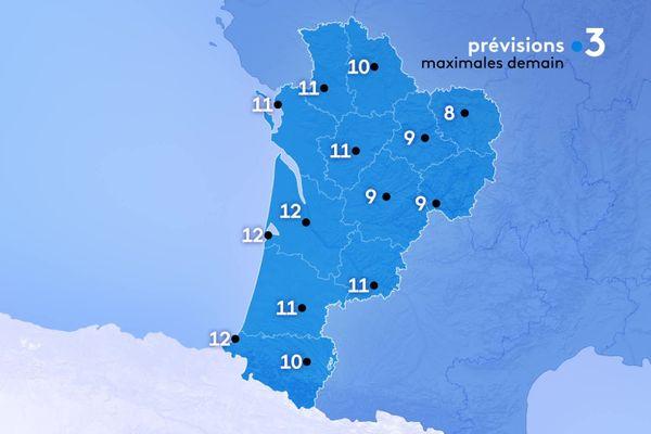 Les températures maximales seront comprises entre 8 degrés à Guéret et 12 degrés le maximum à Bordeaux, Arcachon et Biarritz.