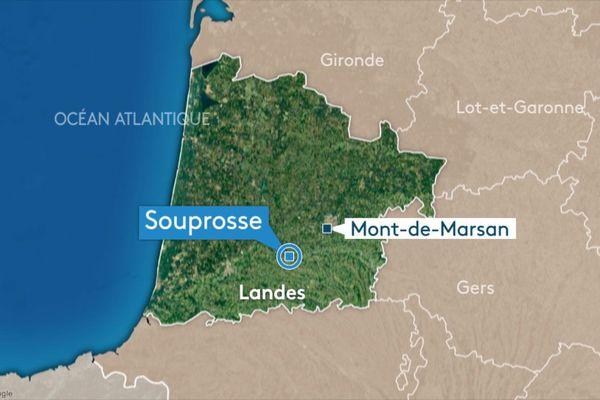 L'incendie a eu lieu à Souprosse, dans les Landes.