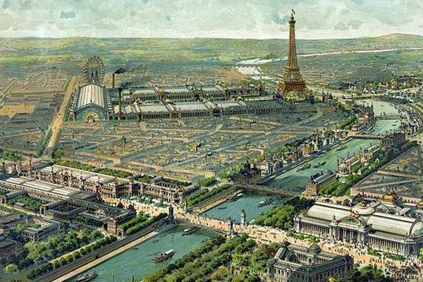 Vue panoramique de l'exposition universelle de 1900 à Paris.