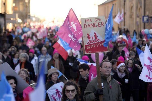 Un cortège de la Manif pour tous, mobilisée à Versailles le 15 décembre 2013.