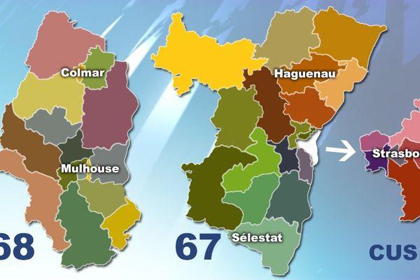 Les 40 nouveaux cantons alsaciens