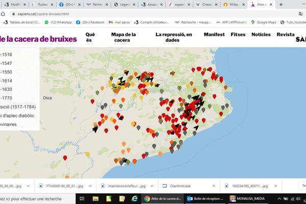 """La liste des exécutions de  """"bruixes  """" en Catalogne du Nord est consultable sous forme de carte par le  magazine Sàpiens, édité à Barcelone."""