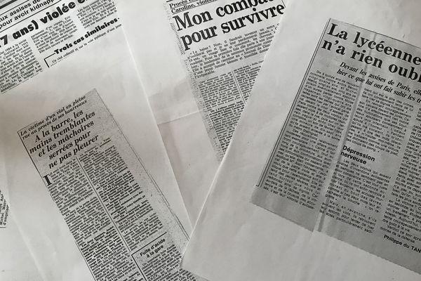 """Les articles de presse consacrés à """"l'affaire"""" Claudine Cordani, qui se fait alors appeler Caroline."""