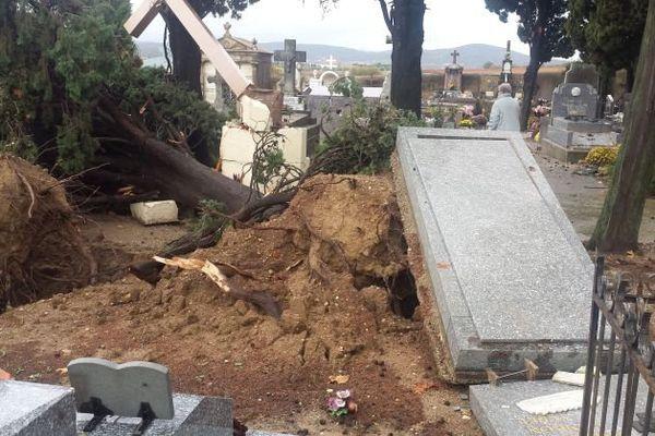 Des tombes soulevées par les arbres déracinés à Adissan