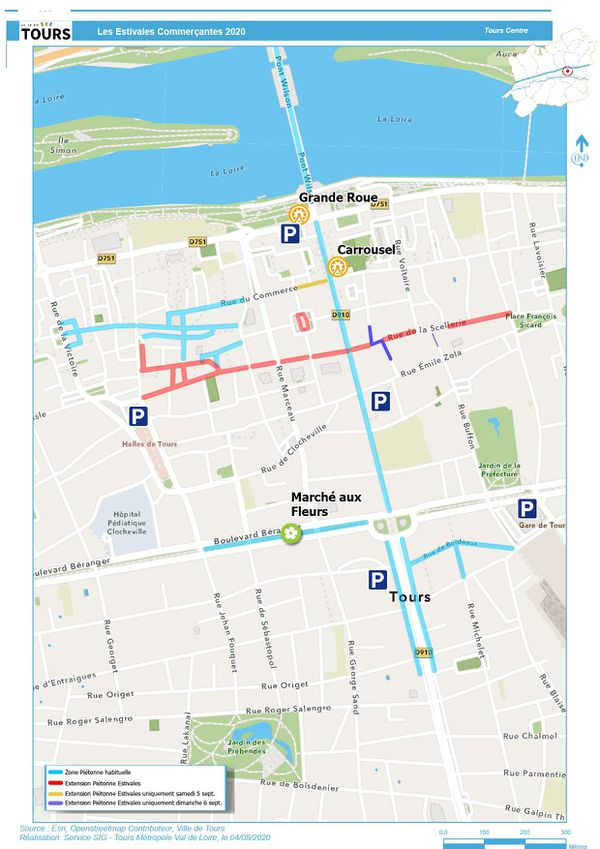 Plan des rues piétonnisées à Tours les 5 et 6 septembre