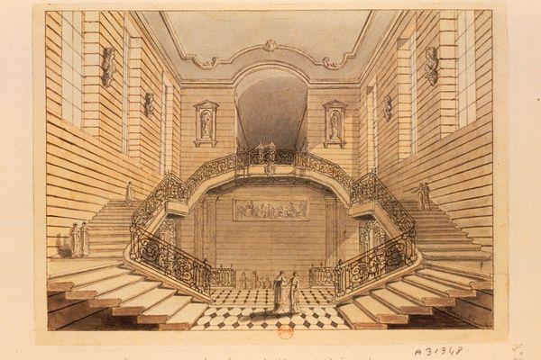 Dessin des escaliers d'honneur de l'abbaye de Prémontré par Tavernier de Jonquières au XVIIIe siècle.