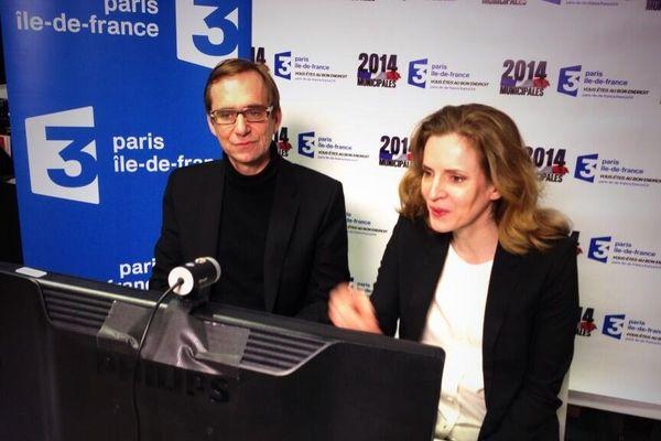 Nathalie Kosciusko-Morizet et notre journaliste Daïc Audouit, durant le débat interactif que nous avons proposé aux Parisiens.