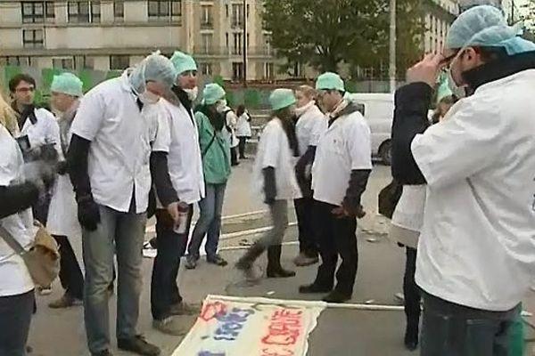 120 internes du CHU de Dijon ont manifesté lundi 12 novembre 2012 à Paris