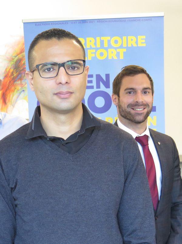 Kamel Agag-Boudjahlat était tête de liste RN aux régionales dans le Territoire de Belfort. Au second plan, Julien Odoul, conseiller régional et tête de liste régionale du RN en Bourgogne-Franche-Comté.