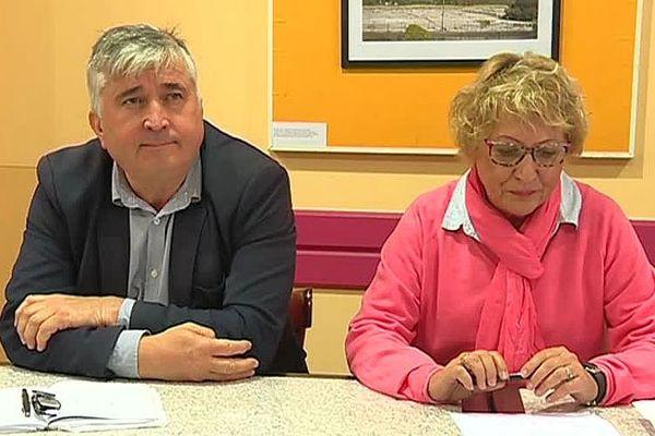 Nîmes - Christian Bastid et Sylvette Fayet, 2 conseilers municipaux (PCF) en conférence de presse - 31 octobre 2018.