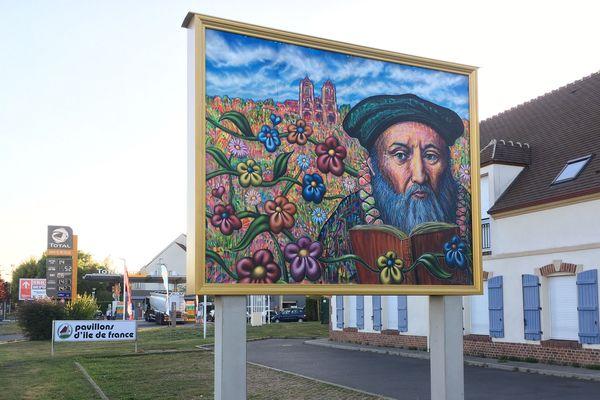 Le portrait de Jean Calvin, à l'entrée de Noyon.