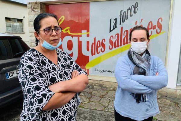 """Fatima Jaador, Déléguée du personnel et déléguée syndicale de l'Ehpad """"La Rossignole"""" à gauche de la photo et Jessica Caillet, déléguée du personnel"""