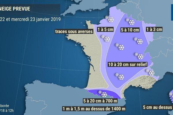 Une offensive neigeuse est attendue entre mardi et mercredi sur le pays.