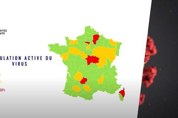 Sur la première carte publiée, la Nièvre était le seul département de la région où la circulation du virus était dans le rouge. Une erreur corrigée depuis.