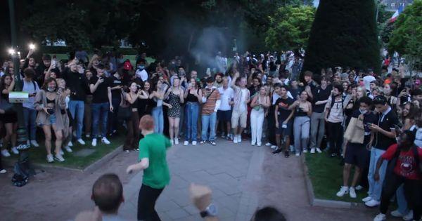 Capture d'écran de la vidéo Youtube de Mewen Lepêtre lors de la soirée du 21 juin à Strasbourg.