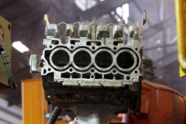 Un bloc moteur en aluminium, photo d'illustration.