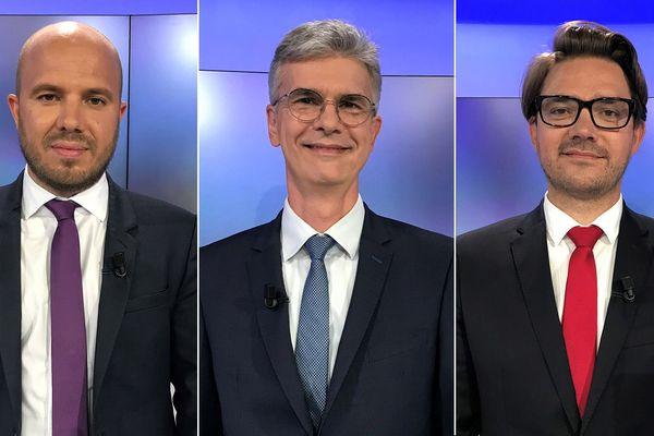 Les candidats pour le second tour des Municipales à Thonon-les-Bains, en Haute-Savoie : Jean-Baptiste Baud (DVG), Christophe Arminjon (DVD) et Franck Dalibard (Divers).