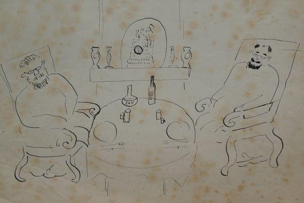"""""""Duo des deux philosophes: à nos âges un seul verre de vin est suffisant et ne peut faire mal aux artères"""". Dessin de Matisse, 1910."""