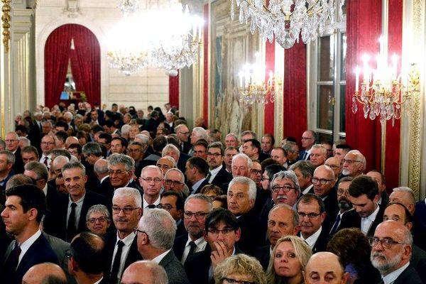 Une partie des maires français invité à l'Elysée attendant le début du discours du président de la République, le 21 novembre 2018.