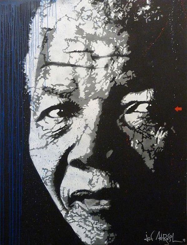 Portrait de Nelson mandela par Jef Aérosol