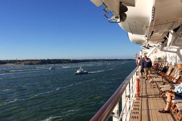 Le Queen Mary 2 au départ de Saint-Nazaire le 25 juin 2017
