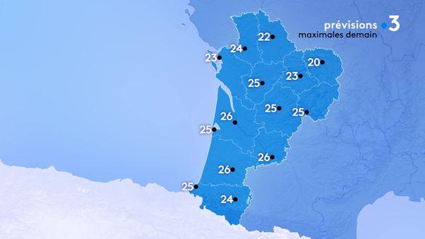 Les températures maximales seront comprises entre 20 degrés à Guéret et 26 degrés le maximum à Bordeaux, Agen et Mont de Marsan.