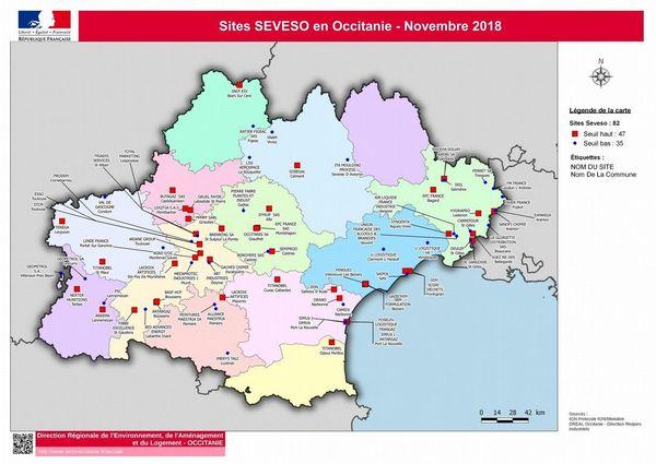 Carte des usines classées SEVESO en Occitanie