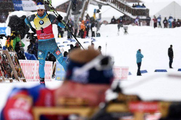 Le catalan Martin Fourcade sur la Poursuite du Grand-Bornand pour la coupe du monde de biathlon - 16 décembre 2017